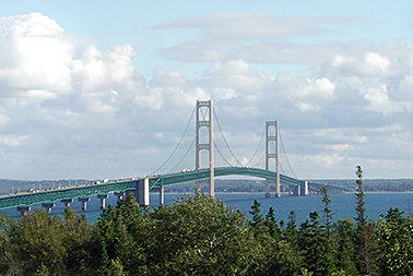View of the Mackiac Bridge from Mackinaw City.